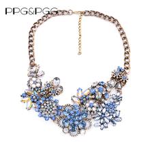 2016 Nuevas Mujeres de la Llegada Azul Gemas Maxi Flores Collar de Accesorios de Cristal de La Vendimia Declaración Collar Collares y Colgantes de La Joyería(China (Mainland))