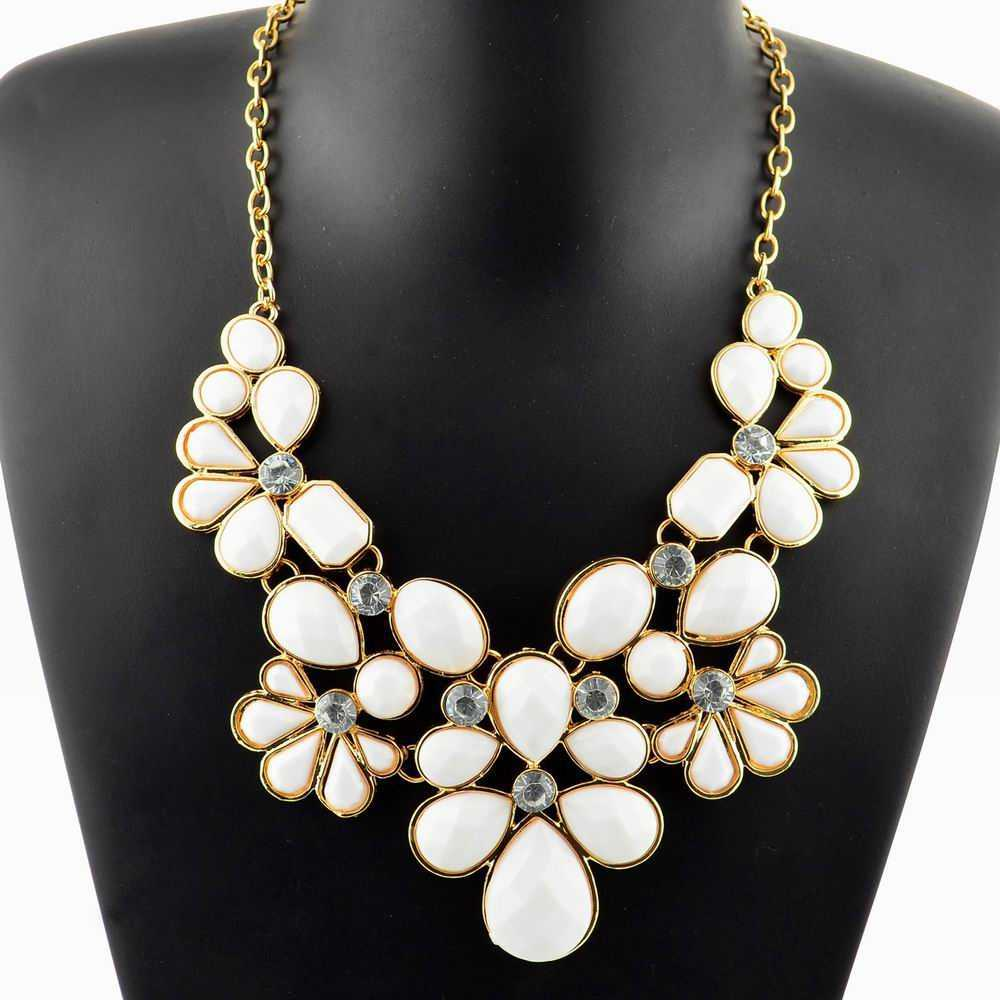 Hot Sale Gold Filled Chain Statement Necklace for Women Flower Rhinestone Crystal Cz Teardrop Bib Collar Necklace Pendant(China (Mainland))