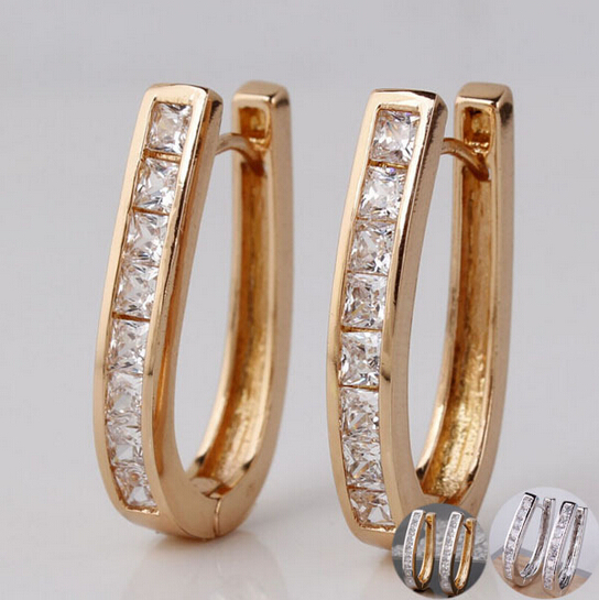 50pairs/lot High Quality Fashion Hoop Earing 18K Gold Plated Princess Wedding Design Huggie Earring Brincos De Ouro 18k E100<br><br>Aliexpress