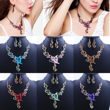 Hot Sale Wedding Party Crystal Rhinestone Necklace Earrings Butterfly Jewelry Flower Sets(China (Mainland))