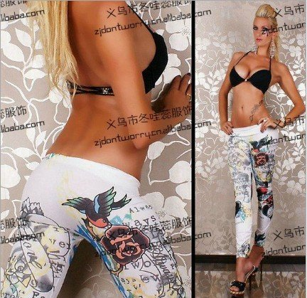 East Knitting FREE SHIPPING A51 2014 fashion Women Faux Jeans leggings Tattoo Jeggings White Best Quality Fast Delivery