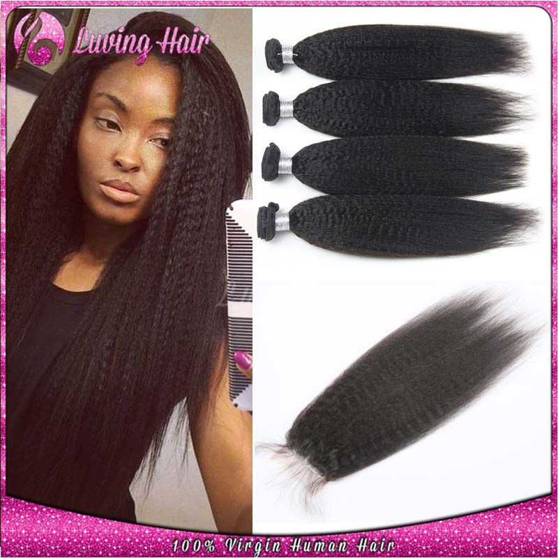 == Brazilian Kinky Straight Hair Weave With Closure Human Hair Lace Closure With 3 Bundles Yaki Hair Kinky Straight With Closure