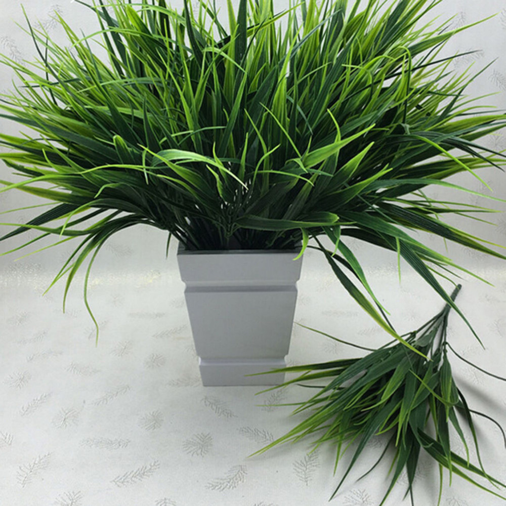 2016 new 7 fork green grass artificial plants for plastic for Green plants for garden