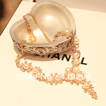 Free Shipping 2014 New Arrival Gold Chain Acrylic Pearl Charm Statement Brand Jewelry For Women Fashion Choker Necklace Hot Sell