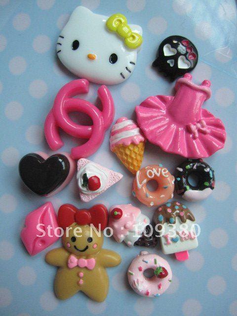 2sets(=28pcs)/lot,Flat back resin Hello kitty set for phone decoraction(China (Mainland))