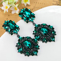 Excellent African Beads Earring Fashion Brand Women Large Wedding Jewelry Emerald Rhinestone Brincos Grandes Vintage Earrings