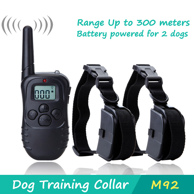 300 Meters Remote Pet Training Collar With LCD Display For 2 Dog M92(China (Mainland))