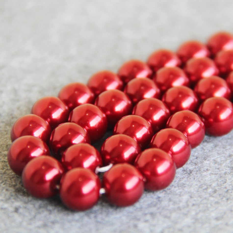12mm New bright red Shell glass beads loose women Jewelry design Fashion Accessories 15inch 2pc/lot Wholesale and retail(China (Mainland))