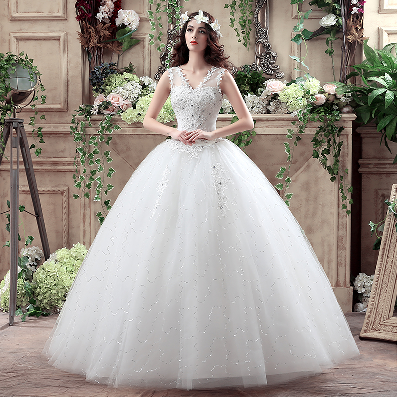 New Arrival V Neck Flowers Rhinestone Lace Up Wedding Dress Princess Bridal Ball Gown With Crystal Lace Wedding Dress YF2019(China (Mainland))