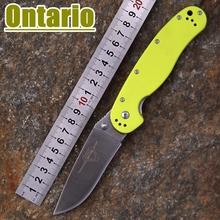 2015 nueva Ontario RAT modelo 1 outdoor adventure y entrenando cuchillo plegable AUS-8 hoja verde fluorescente G10 manija que envía libremente