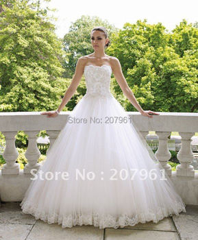Gorgeous Off-shoulder 2015 White tulle with Embroidered Wedding dress Bridal Gown FF1035