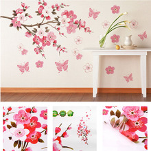bathroom Flower Butterfly Wall Stickers decal Removable Peach Wall Sticker wallpaper quote poster decor para bedroom decoration(China (Mainland))