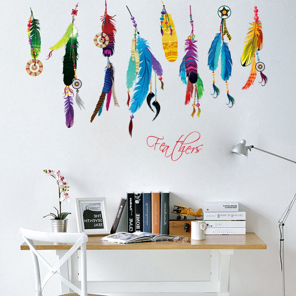 creative colorful feather pendants PVC wall sticker vinyl