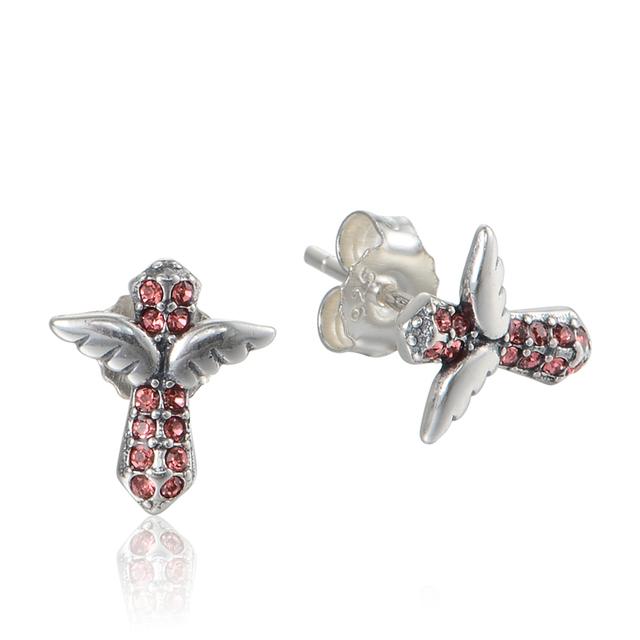 Совместим с Chamilia угол крыла кристалл крест серьги 100% серьга стерлингового серебра 925 женщин ювелирных изделий