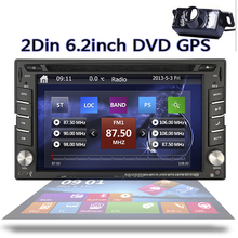 GPS Navigation Car DVD Player HD Touch Screen Double 2DIN 6.2 Car Stereo DVD Player Bluetooth iPod MP3 TV+Free Camera