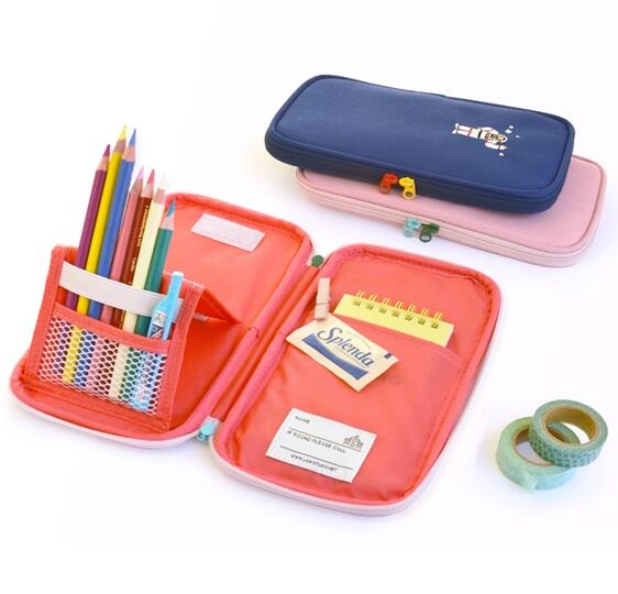 Multiple functions folding pencil bag 12*21cm navy pink cool students office gift 2016 Korean stationery<br><br>Aliexpress