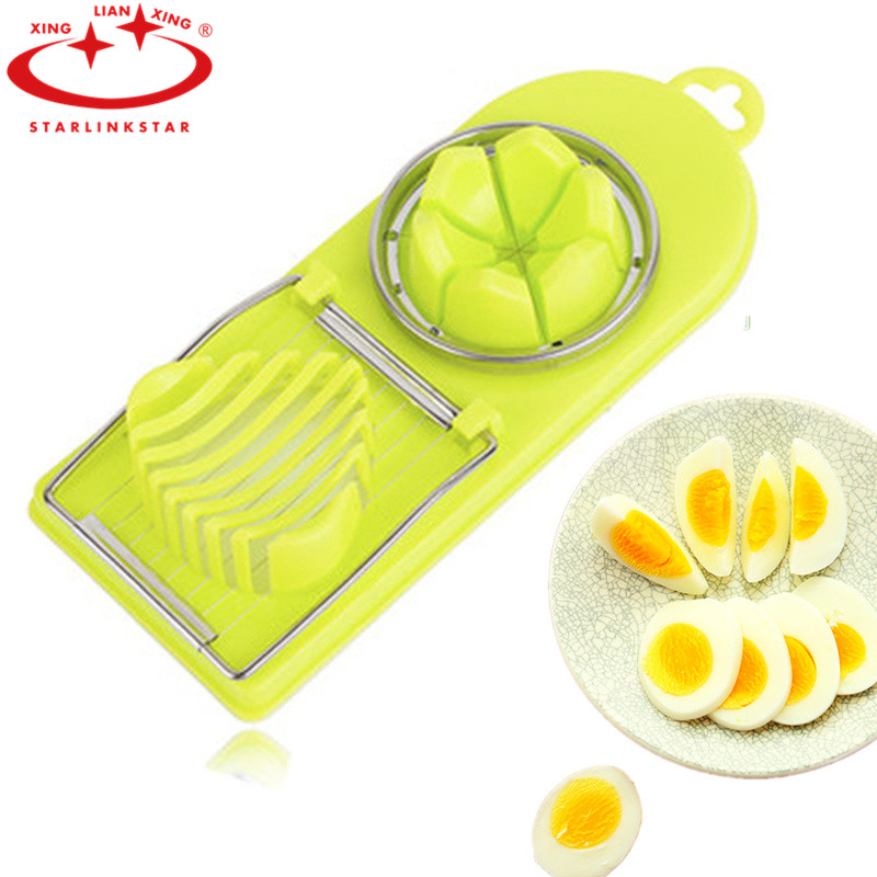 Hot sale 2in1 Cut Multifunction Kitchen Egg Slicer Sectione Cutter eggs Mold tools(China (Mainland))