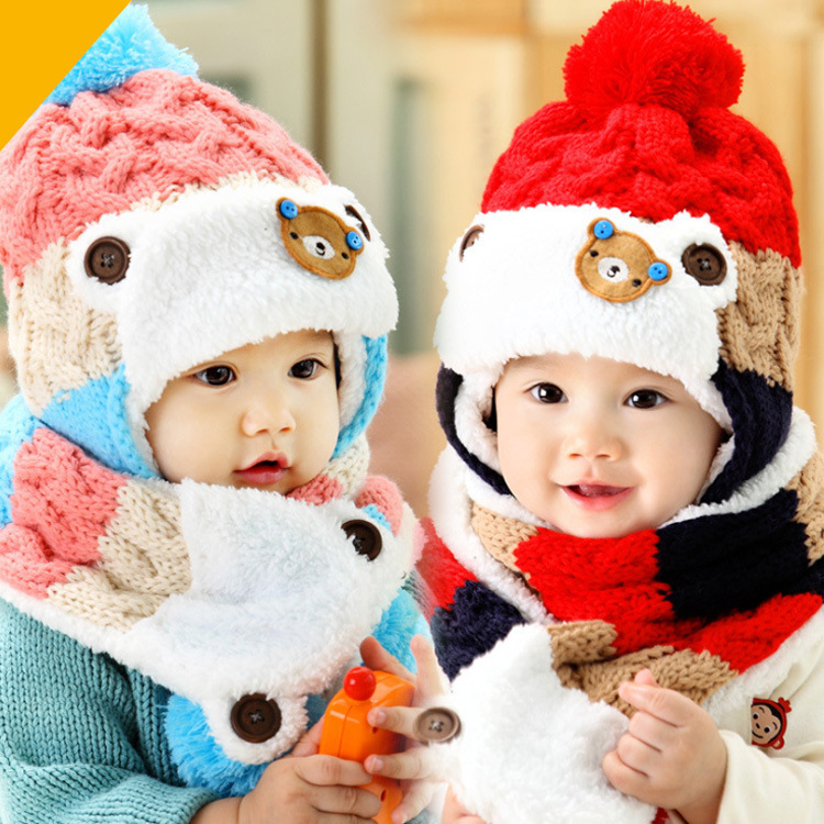 Гаджет  2014 New Fashion Bear Printed Baby knitted Hat Scarf Kids Beanie Caps Girl and Boy Winter Hats Child Caps For baby 1-4 years None Детские товары