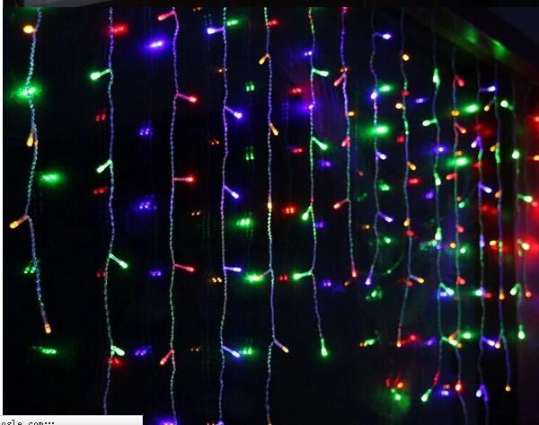 New 16M Droop 0.75m 576 LED Icicle String Light Christmas Wedding Xmas Party Decoration Snowing Curtain Light And Tail Plug AC.110v-220v