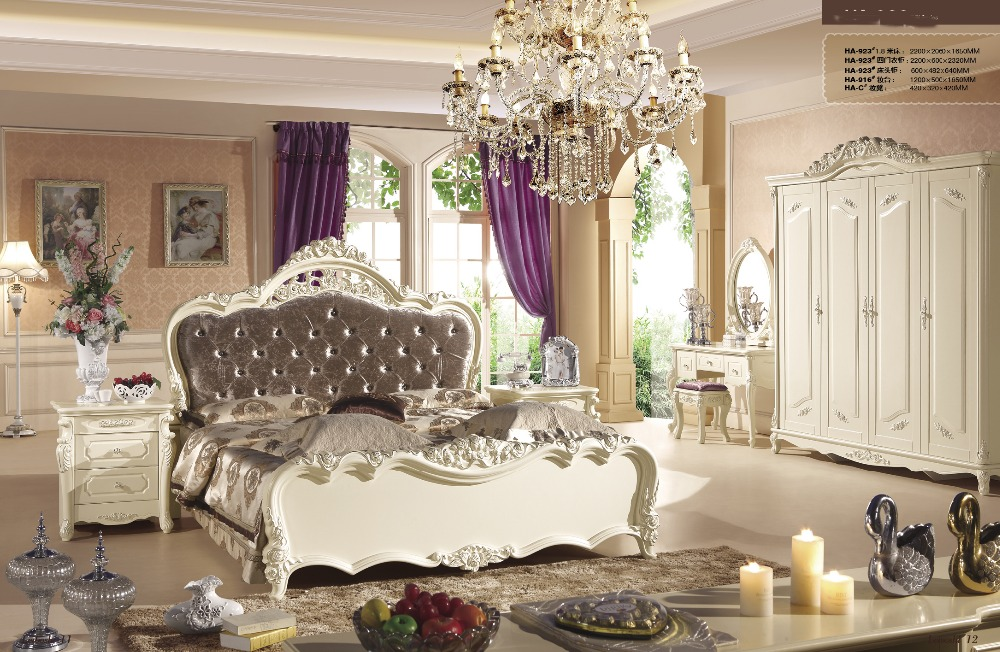 High class French noble new style Bedroom Furniture sets with bed, chest of drawers,Bed side table,dressing table and chair-923(China (Mainland))