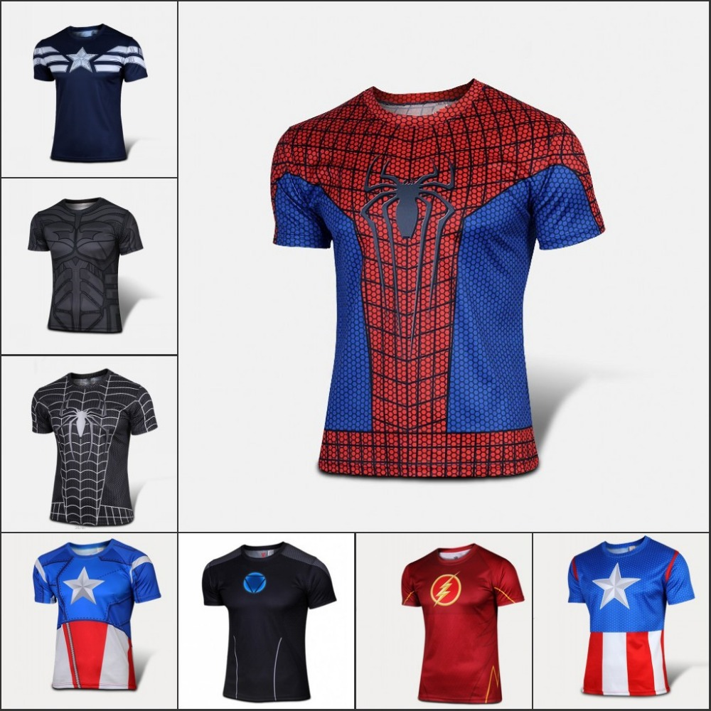 NEW 2016 Marvel Captain America 2 Super Hero lycra compression tights sport T shirt Men fitness clothing short sleeves XS-XXXXL(China (Mainland))