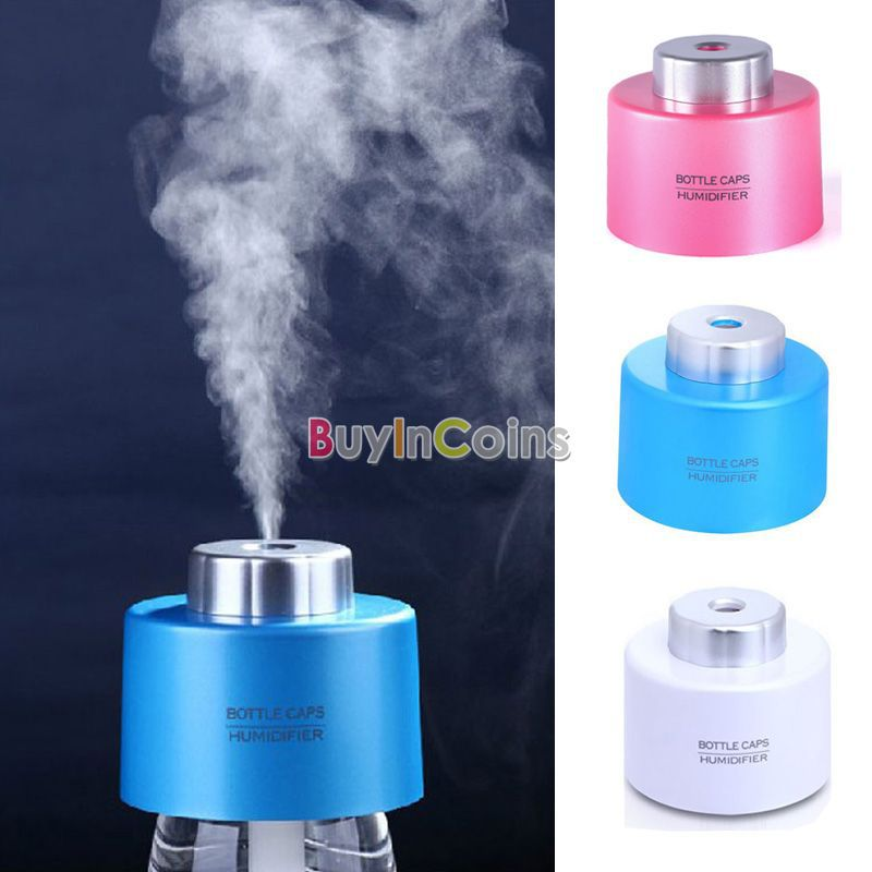 Portable USB Mini Water Bottle Caps Humidifier mag Aroma Air Diffuser Mist Maker US AS #53806 (China (Mainland))