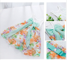 Kids Baby Girls Summer Chiffon Hollow Out Floral Flower Braces Two-way Dresses Free Shipping(China (Mainland))