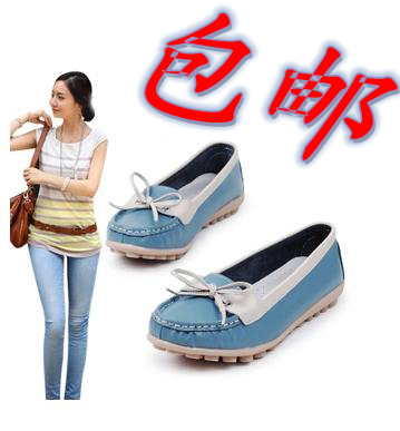 Comfortable soft leather genuine leather loafers gommini massage bottom color block decoration bow casual single shoes(China (Mainland))