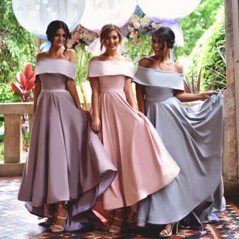 Off The Shoulder Bridesmaid Dresses Girl 2016 Hi Lo Ruffles Party Gowns Elegant Maid Of The ...
