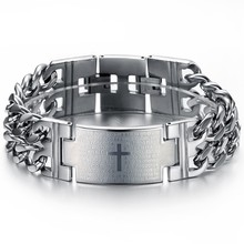 (min order 10$)Wholesale price titanium steel bracelets & bangles cross engraving personalized gift for cool man 620