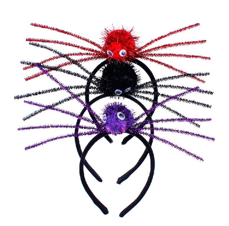 Halloween Black Yellow Antenna Spider Headband for Children Adult(China (Mainland))