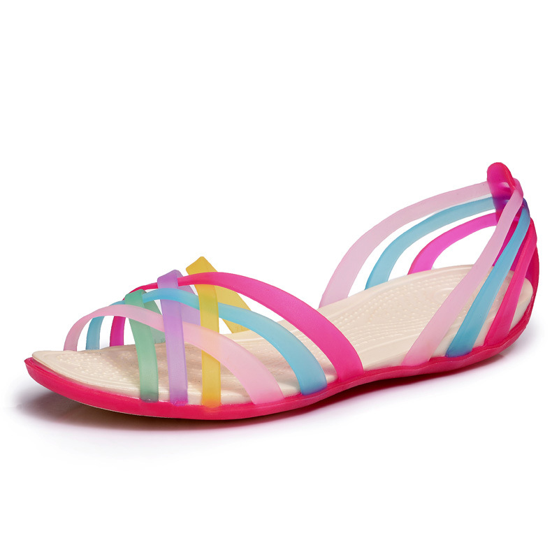 women sandals 2015 summer new candy color peep toe stappy beach valentine rainbow croc jelly shoes - Sandale Colore