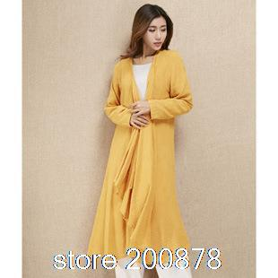 2014 autumn new Jute Multi colors Jute long loose cloak coat bamboo influx of women dress Одежда и ак�е��уары<br><br><br>Aliexpress