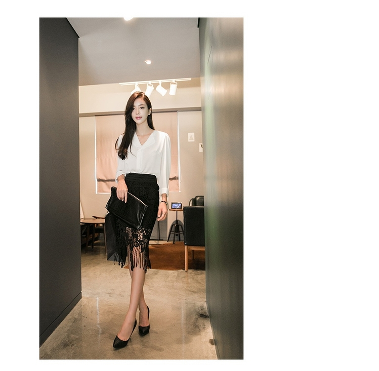 Etek Women Knee Length Lace Midi Pencil Skirts Fashion Saias Femininas 2016 New Black Female Grunge Ladies Slim Office Workwear