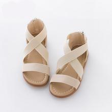 Girls Sandals Leopard Gladiator Style 2016 Summer Beach Zipper Sandals For Girl Princess Cross straps Flat Sandals(China (Mainland))