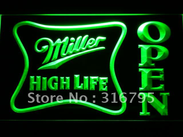 041-g Miller High Life OPEN Bar LED Neon Light Sign Wholesale Dropshipping(China (Mainland))
