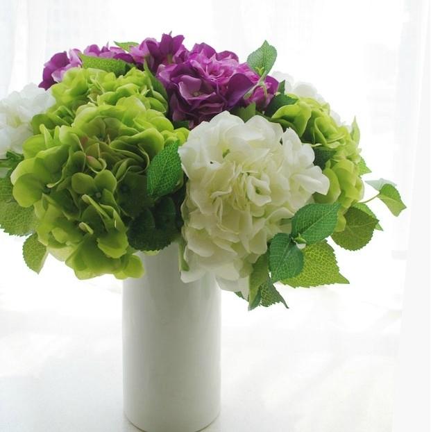 Faux hydrangea artificial flower tables centerpiece floral