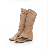 Women New Cut Outs Breathable Knight Boots Lady Zipper Round Toe Summer Ankle Shoes Girl Fashion Height Increasing Mesh Boots 85