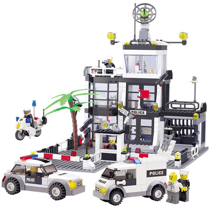 6725 631PCS Police Station Building Blocks Bricks Educational Toys Compatible famous brand City Truck Car Kids Toys(China (Mainland))
