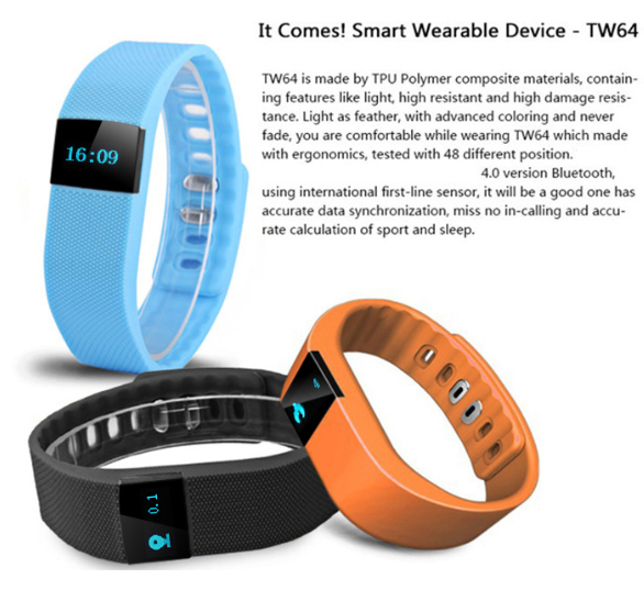 TW64 Smart Bracelet Bluetooth Smart Wristbands smart watch Waterproof & Passometer & Sleep Tracker Function for android ios syst(China (Mainland))