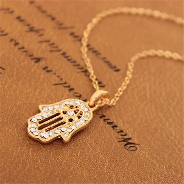 2015 Lucky Lady Hamsa Necklace Fatima Hand Pendant Rhinestone Golden Jewelry Chain Charm Knitting sweater necklace - Kiki Fashion Shop store