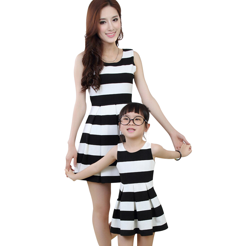 Black Striped Cotton White Lined Double Spring Autumn Knee-Length Matching Mother Daughter Dresses Clothes Family Clothing Look(China (Mainland))