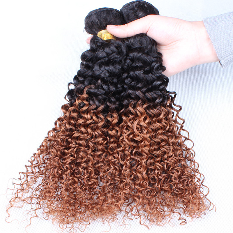 Rosa Hair Products Ombre Human Hair Extensions 3 Bundles Brazilian Remy Hair Wholesale Brazilian Kinky Curly Virgin Hair weave