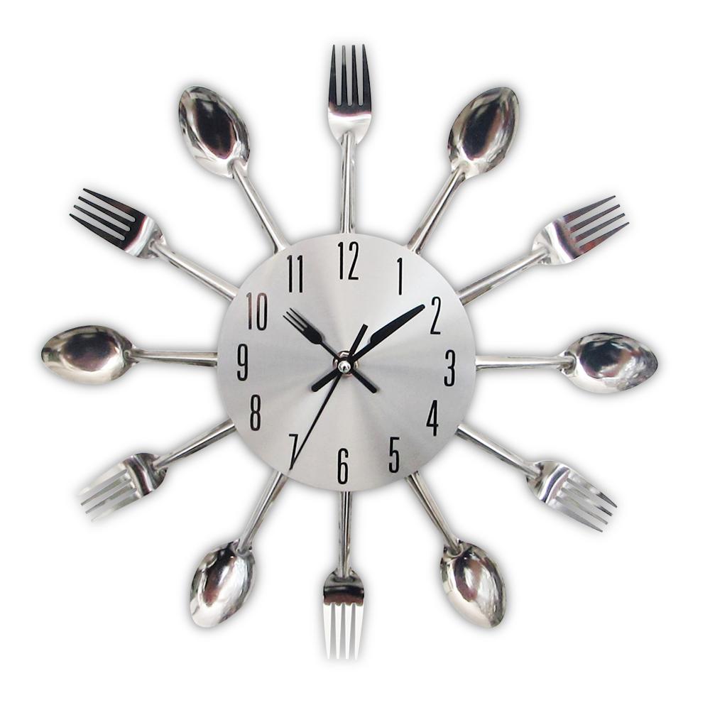 2017 nuova cucina moderna orologio da parete sliver posate orologi cucchiaio forcella creativo adesivi murali meccanismo
