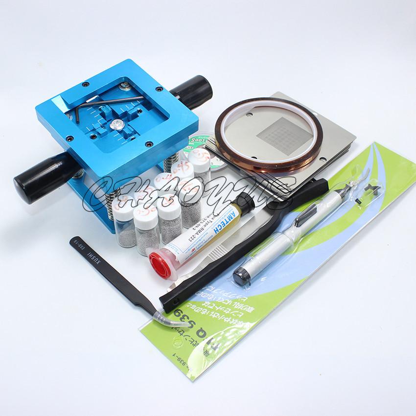 BGA rework fixtures Kit 90x90 Universal Reballing Bga Stencil Kit for Laptop Gameconsole 10 pcs Stencil + free Gifts(China (Mainland))