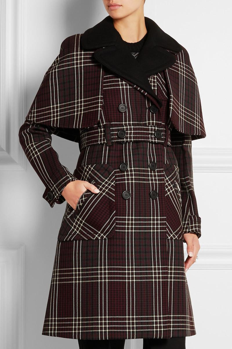 New Designer Women Red Plaid Print Coat Fashion Turn-Down Collar Winter Coat W5671(China (Mainland))