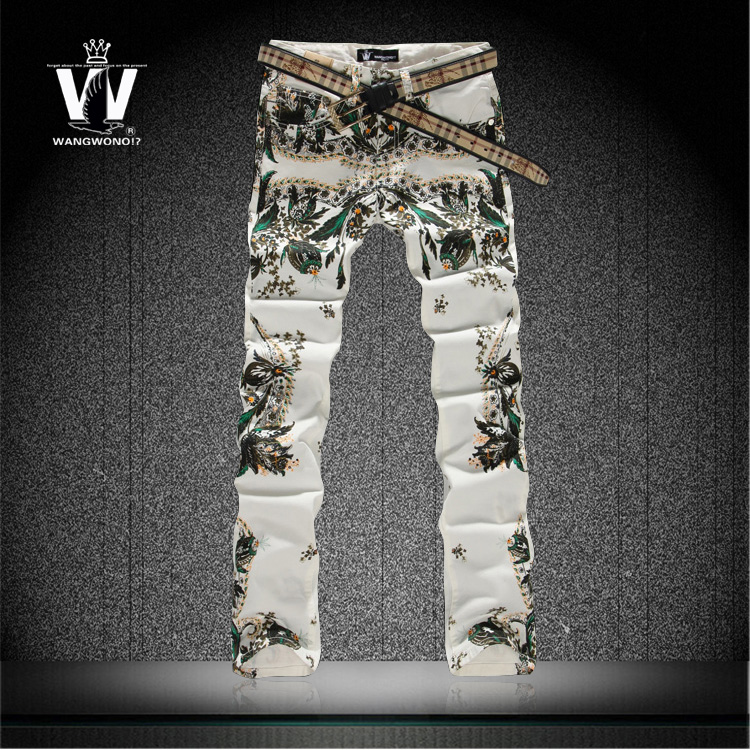 Night Club Hairdresser Plus Size 27-40 Fashion Floral Printed Jeans, High Quality Brand Mens Skinny Jeans, Denim Pants 11BK093Одежда и ак�е��уары<br><br><br>Aliexpress