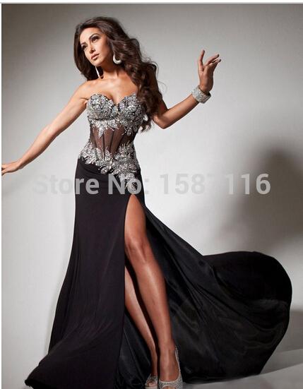 2015 classique Sexy a-ligne chérie Sheer Tulle avec perles Backless Zipper fente blanc / noir / rouge de bal / robes de soirée Custom(China (Mainland))