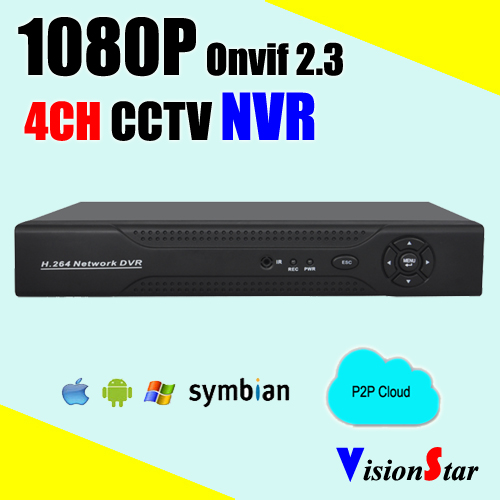 Security CCTV NVR 4ch 1080P for IP camera RJ45 network HDMI VGA video output Mobile view P2P DVR recorder(China (Mainland))