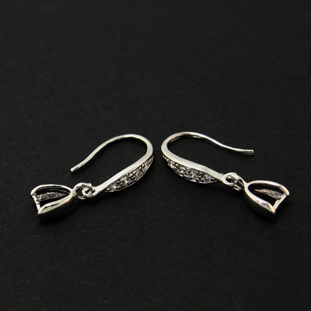 3pair/lot 925 Sterling Silver Earring Hook With Rhinestone 3.5* 25mm CN-BFS014(China (Mainland))